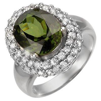 Genuine 5.5ctw Green Tourmaline & Diamond Ring 14K Gold