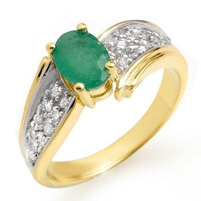 Genuine 1.43 ctw Emerald & Diamond Ring 10K Yellow Gold