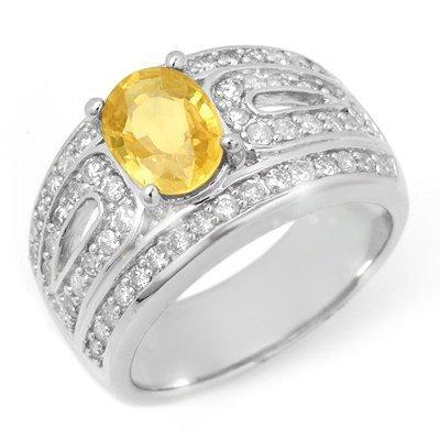 Genuine 3.04 ctw Yellow Sapphire & Diamond Ring 14K Whi