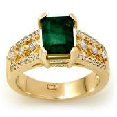Genuine 275 ctw Emerald  Diamond Ring 14K Yellow Gold