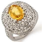 Genuine 355ctw Yellow Sapphire  Diamond Ring 14K Gold