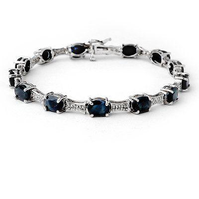 Genuine 1139 ctw Sapphire  Diamond Bracelet 10K Gold