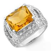 Genuine 50 ctw Citrine  Diamond Ring 14K White Gold