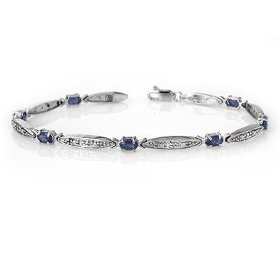 Genuine 2.32 ctw Sapphire & Diamond Bracelet White Gold