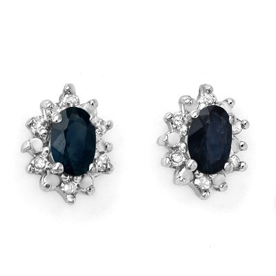 Genuine 0.86 ctw Sapphire & Diamond Earrings 10K Gold