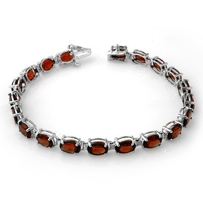Genuine 21.0 ctw Garnet Bracelet 10K White Gold