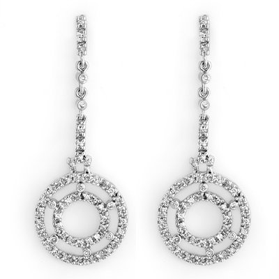 Natural 1.0 ctw Diamond Earrings 14K White Gold