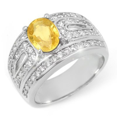 Genuine 3.04 ctw Yellow Sapphire & Diamond Ring 14K Whi