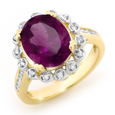Genuine 4.33ctw Amethyst & Diamond Ring 10K Yellow Gold