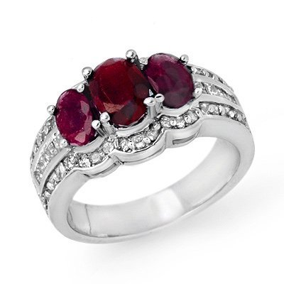 Genuine 3.5 ctw Ruby & Diamond Ring 14K White Gold