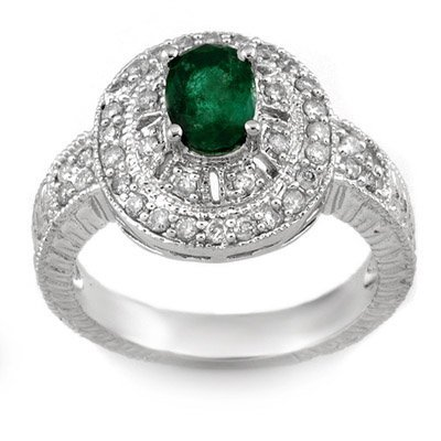 Genuine 1.58 ctw Emerald & Diamond Ring 14K White Gold