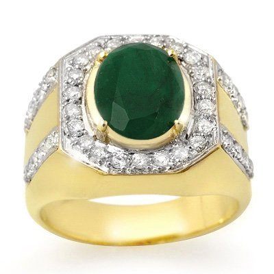 Genuine 5.25ct Emerald & Diamond Men's Ring Yellow Gold