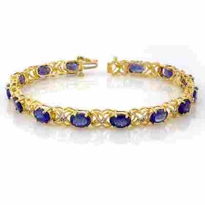 Genuine 12.05 ctw Tanzanite & Diamond Bracelet 10K Gold