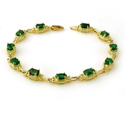 Genuine 6.10 ctw Emerald Bracelet 10K Yellow Gold