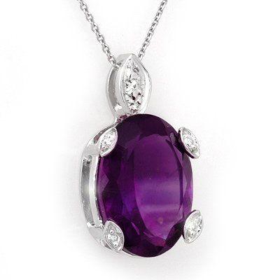 Genuine 10.10 ctw Amethyst & Diamond Necklace 14K Gold