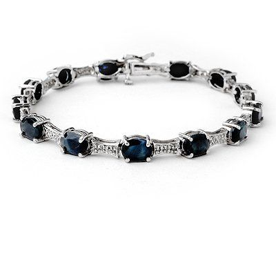 Genuine 11.39 ctw Sapphire & Diamond Bracelet 10K Gold