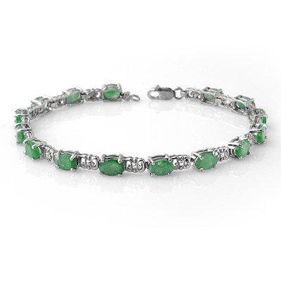 Genuine 8.10 ctw Emerald Bracelet 10K White Gold