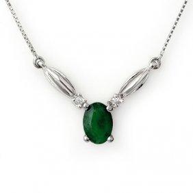 Genuine 1.30 ctw Emerald & Diamond Necklace 10K Gold
