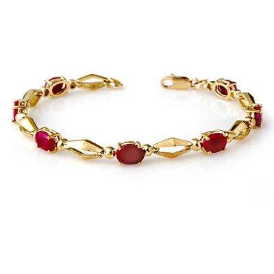 Genuine 6.0 ctw Ruby Bracelet 10K Yellow Gold