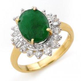 Genuine 4.85 ctw Emerald & Diamond Ring 14K Yellow Gold