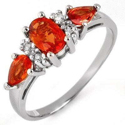 Genuine 1.33 ctw Orange Sapphire & Diamond Ring Gold