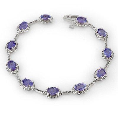 Genuine 11.4 ctw Tanzanite & Diamond Bracelet 10K Gold