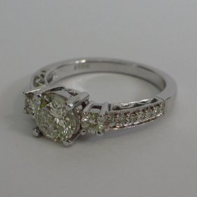18KT White Gold Bridal Ring with Natural Diamonds