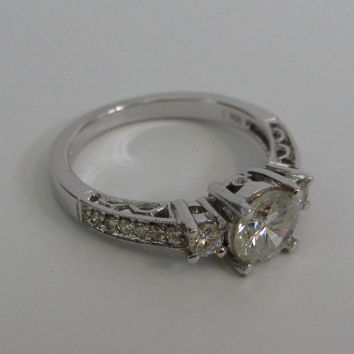 18KT White Gold Bridal Ring with Natural Diamonds - 2