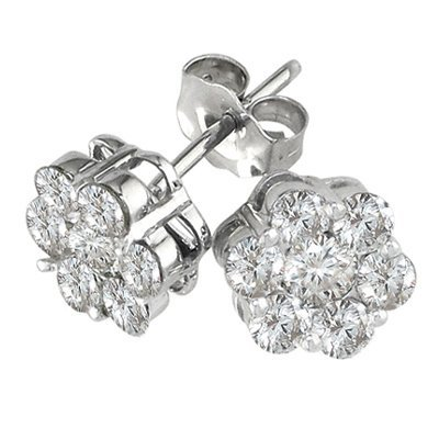 14KT White Gold Flower Earrings with Natural Diamonds