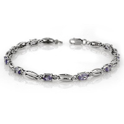 Genuine 2.0 ctw Tanzanite Bracelet 10K White Gold