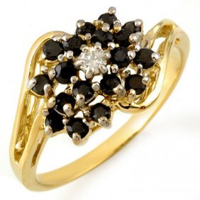 Natural 0.65 Ctw White & Black Diamond Ring 10K Gold