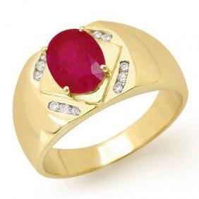 Genuine 3.3 Ctw Ruby & Diamond Men's Ring Yellow Gold