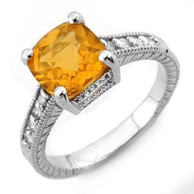 Genuine 3.25 ctw Citrine & Diamond Ring 14K White Gold