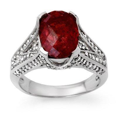 Genuine 4.75ctw Rubellite & Diamond Ring 14K White Gold