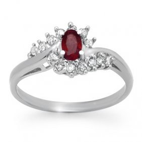 Genuine 0.45 ctw Ruby & Diamond Ring 10K White Gold