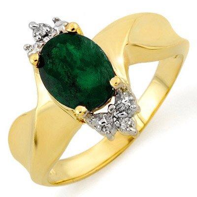 Genuine 1.29 ctw Emerald & Diamond Ring 10K Yellow Gold