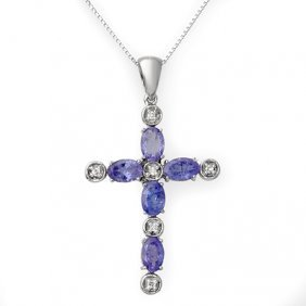 Genuine 3.15 ctw Tanzanite & Diamond Necklace 10K Gold
