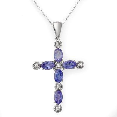 Genuine 3.15 ctw Tanzanite & Diamond Necklace 10K Gold