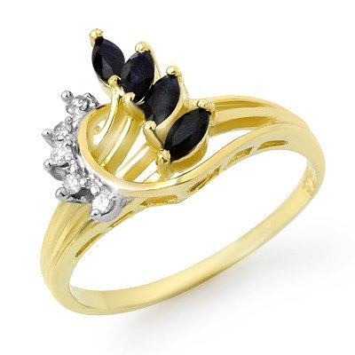 Genuine 0.55 ctw Sapphire & Diamond Ring 10K Yellow Gol