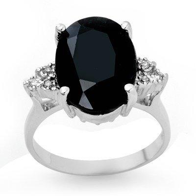Genuine 7.76 ctw Sapphire & Diamond Ring 10K White Gold