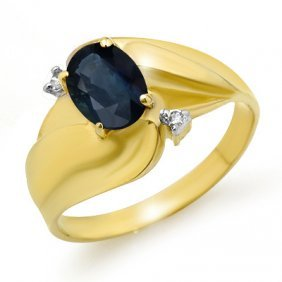 Genuine 1.08 ctw Sapphire & Diamond Ring 10K Yellow Gol