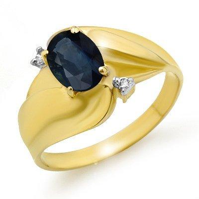 Genuine 1.08 ctw Sapphire & Diamond Ring 10K Yellow Gol