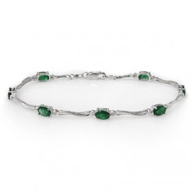 Genuine 3.52 ctw Emerald & Diamond Bracelet White Gold
