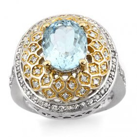 Genuine 4.05 ctw Aquamarine & Diamond Ring 14K Gold