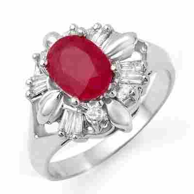 Genuine 2.45 ctw Ruby & Diamond Ring 10K White Gold