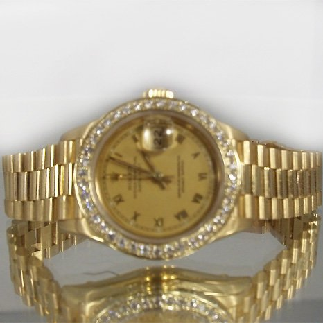 Authentic Rolex Ladies Yellow Gold Bezel and Band