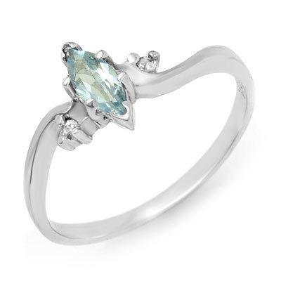 Genuine 0.29 ctw Blue Topaz & Diamond Ring 10K Gold