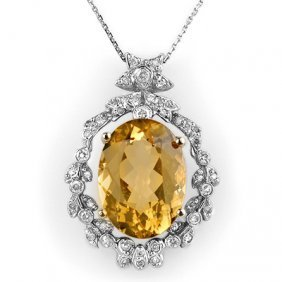 Genuine 12.8 Ctw Citrine & Diamond Necklace White Gold