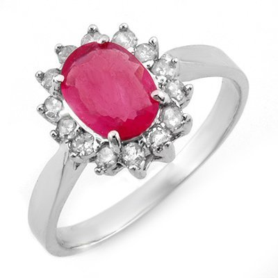 Genuine 1.27 ctw Ruby & Diamond Ring 10K White Gold
