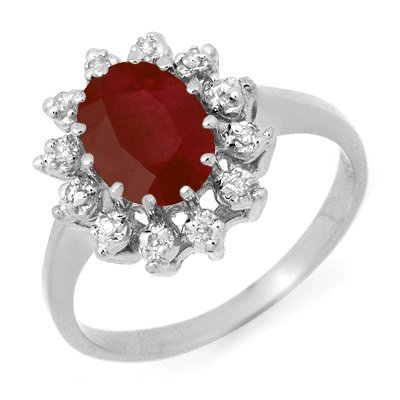 Genuine 1.22 ctw Ruby & Diamond Ring 10K White Gold